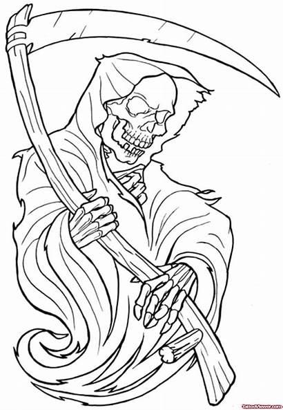 Reaper Grim Tattoo Designs Outline Drawings Skull