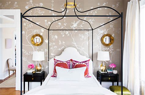 Fresh Southern Bedroom Ideas by Feminine Bedroom With Glam Touches And Silk Wallpaper