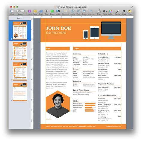 creative resume template  pages mactemplatescom