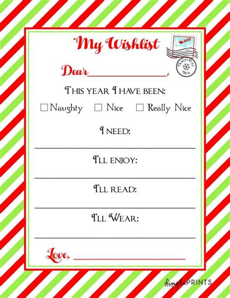 christmas wishlist printable letter real housemoms