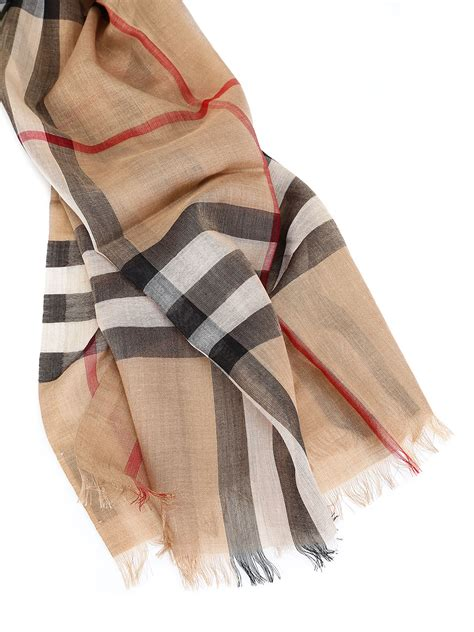 burberry giant check wool silk gouze scarf camel check