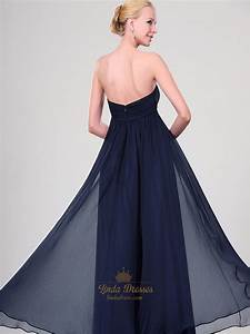 Navy Blue Chiffon Strapless Bridesmaid Dresses With Chunky ...