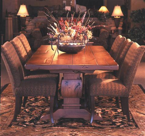 thick top dining table knotty alder trestle table with 3 quot thick top rustic