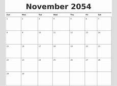 October 2054 Blank Calendar Template