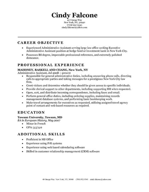Resume Objective Exle Administrative Assistant by Administrative Assistant Resume Objective Statement Exles
