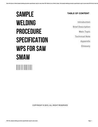 Sample welding procedure specification wps for saw smaw by