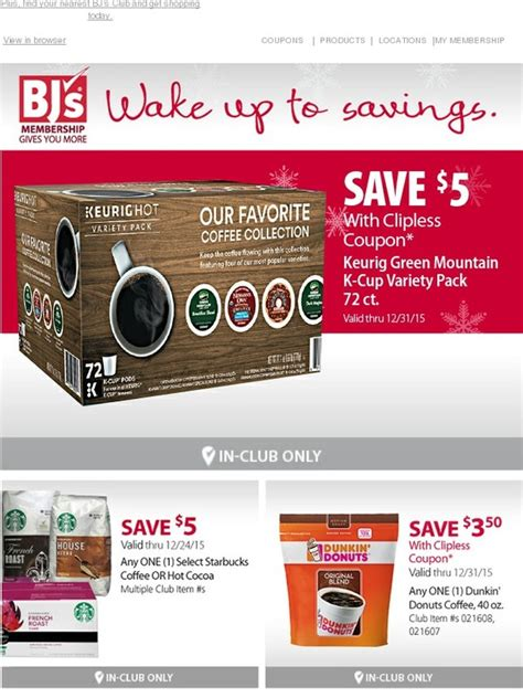 BJs Wholesale Club: $5 clipless coupon -- wake up to a cup ...