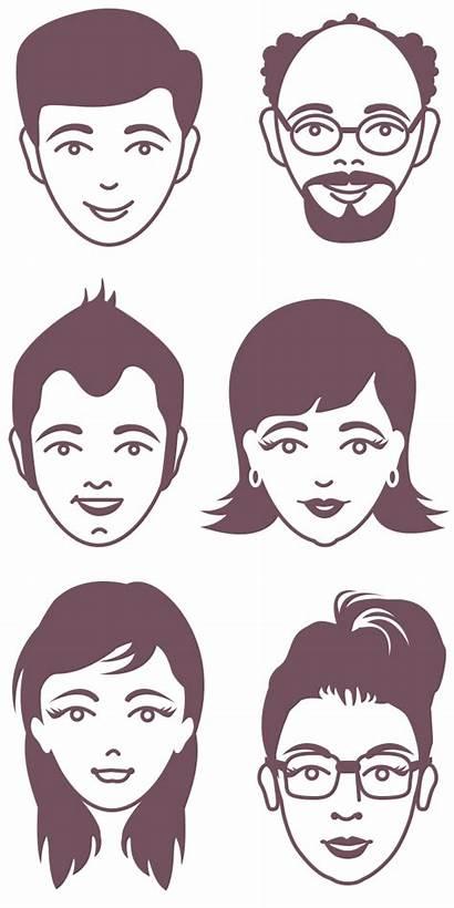 Avatar Vector Male Faces Female Face Psd