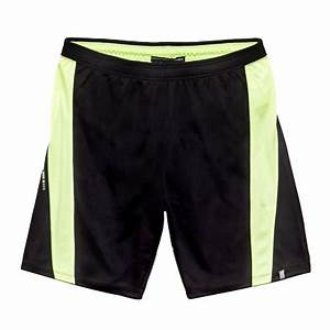 Wholesale Pure Black with Neon Yellow Stripe Gym Shorts