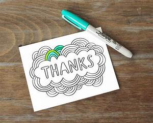 Greeting Card // Thanks, Color Your Own, DIY Thank You ...
