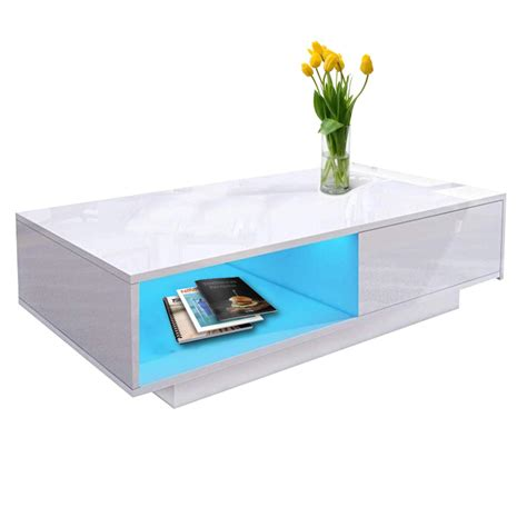 Buy coffee tables and get the best deals at the lowest prices on ebay! High Gloss LED Coffee Table Wooden Drawer Storage Modern Living Room Furniture | eBay