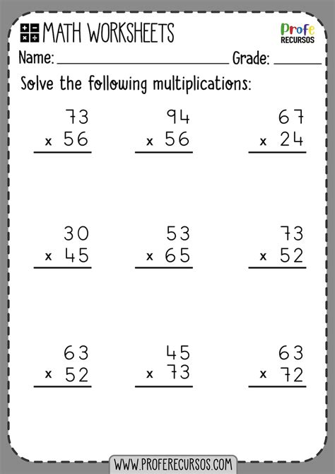 digit   digit multiplication worksheets