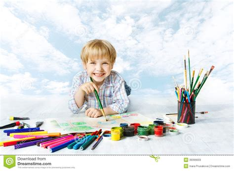 child boy painting  color brush creative drawing