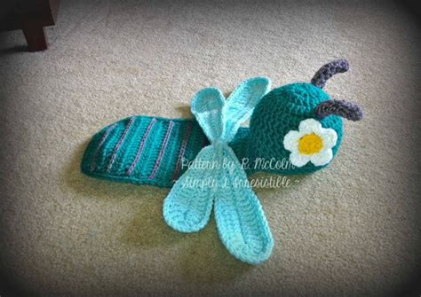 dragonfly newborn baby photography prop set crochet
