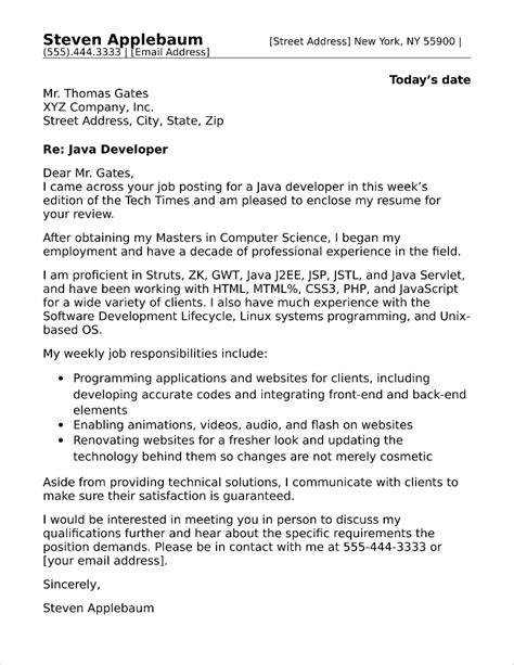 Sle Cover Letter For Java Developer by Java Developer Cover Letter Sle