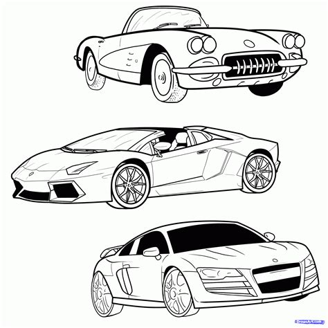 Draw A Sports Car, Step By Step, Drawing Sheets, Added By