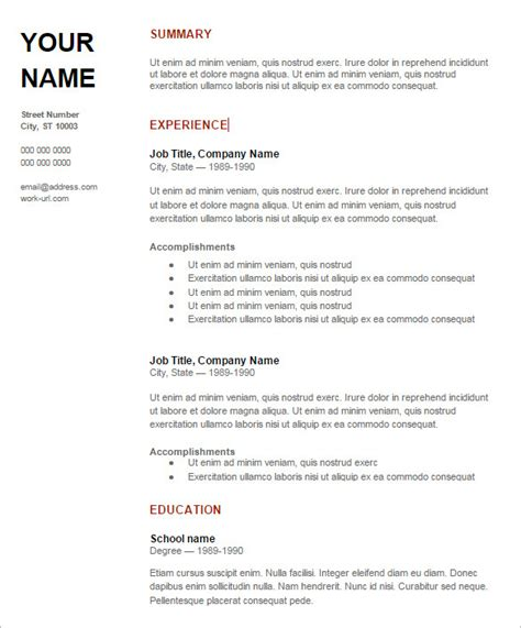Resume Template Docs by Sle Resume In Doc Format Free