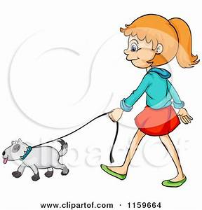 Girl Walking Dog Clipart (74+)