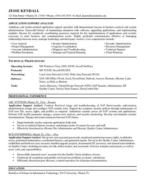 exle application support analyst resume sle