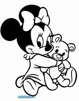 Baby Minnie Disneyclips Coloring Pages Babies Disney Daisy Hugging Teddy Bear sketch template