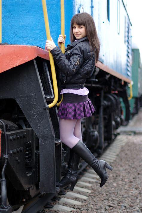 maryana brunette short skirt  trains    flickr