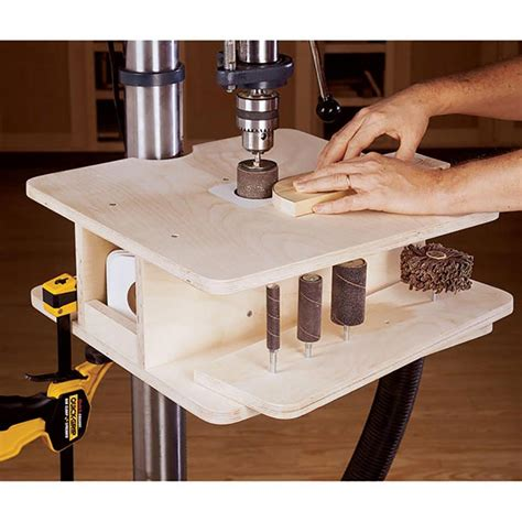 drill press drum sanding table woodworking plan  wood