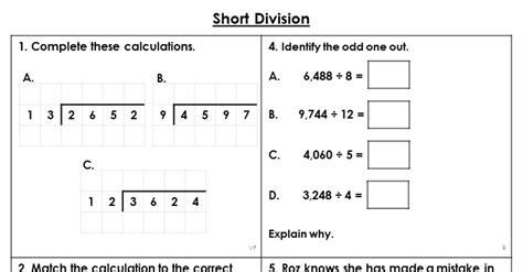 year  short division lesson classroom secrets