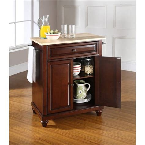 kitchen island legs wood crosley furniture kf30021dma natural wood top turned leg compact kitchen island in vintage mahogany