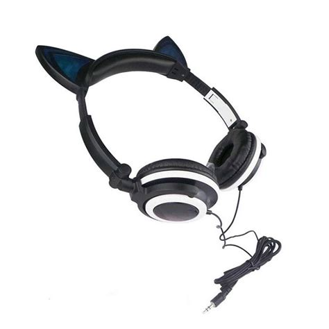 headphones with light up cat ears brookstone cat ear gaming mic headphones led music lights