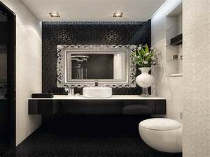 Decoration black white bathroom with decorating mirrors for Mirrors for bathrooms decorating ideas