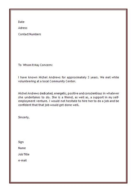 personal letter  recommendation template microsoft