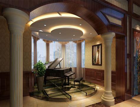 villa piano area design arch and curtain 3d house