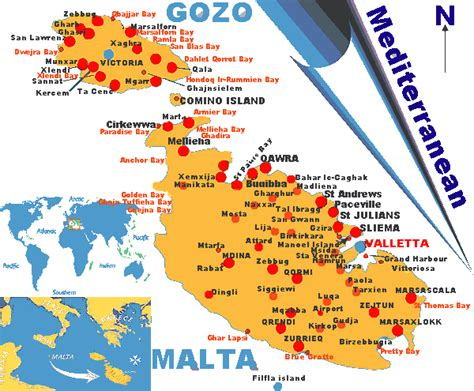 malta map   maltese islands