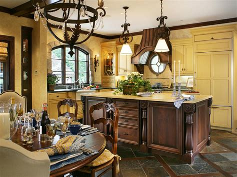 Yellow French Country Kitchen With Center Island