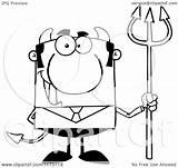 Pitchfork Devil Clipart Cartoon Businessman Hit Royalty Vector Toon Regarding Notes sketch template