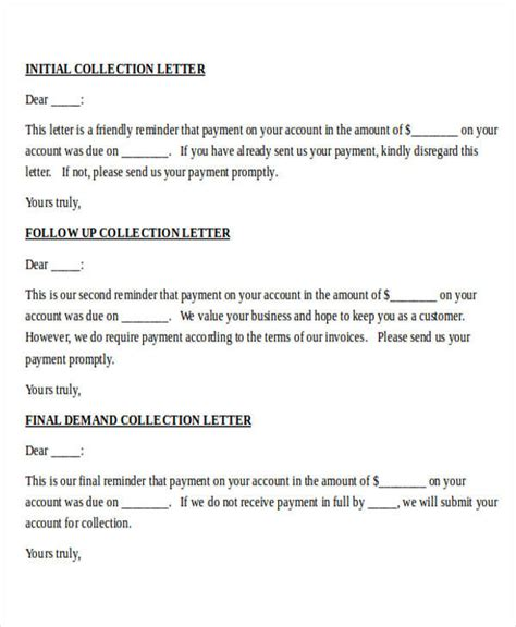 debt collection letter 45 collection letter exles sle templates