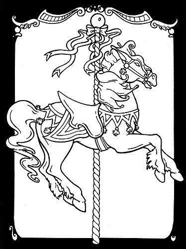 Carousel Horses Stained Glass Coloring Book | Horse