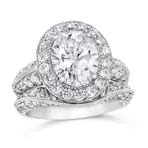 wedding ring sets oval oval 2 50 carat 14k wedding ring