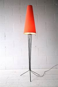 1950s tripod floor lamp cream and chrome With tripod floor lamp with orange shade