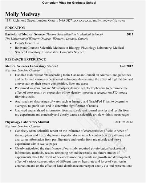 curriculum vitae  masters application sample