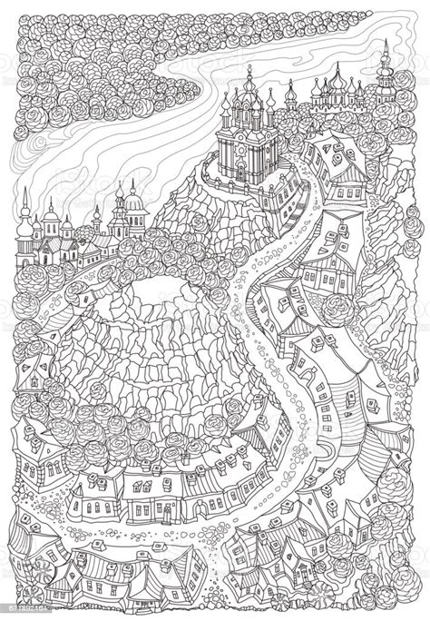 vector humorous black  white outline contoured fantasy landscape trees fairy tale small town