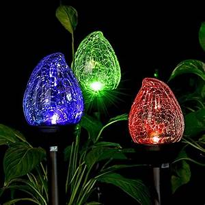 Solar, Lights, Outdoor, Cracked, Glass, Flame, Shaped, Dual, Led, Garden, Lights, Path, 691202665502