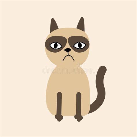 Cute Sad Grumpy Siamese Cat In Flat Design Style Stock
