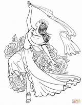 Coloring Spanish Pages Flamenco Dancing Woman Spain Supercoloring Dancer Dance Printable Drawing Ballroom Colouring Sheets Ballet Drawings Coloriage Clothing Fairy sketch template
