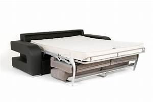Canapé 160 Cm : canape convertible couchage 160 cm onda wilma blanc wilma noir ~ Teatrodelosmanantiales.com Idées de Décoration
