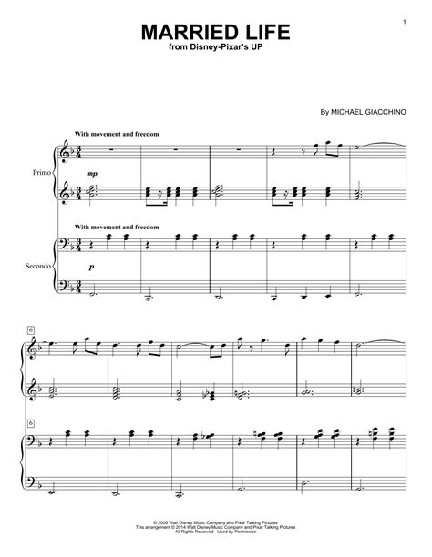 married life sheet   michael giacchino piano duet