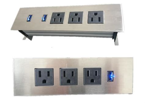 black cubby 3 outlets furniture power embedded tabletop