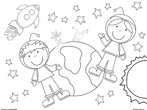 coloring pages boy  girl astronaut outer space