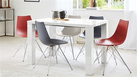 fern white gloss extending dining table danetti