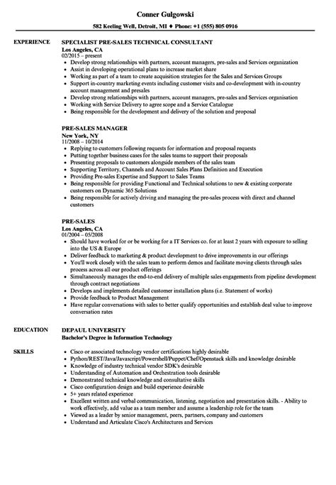 20551 exles of sales resumes technical pre sales resume resume ideas